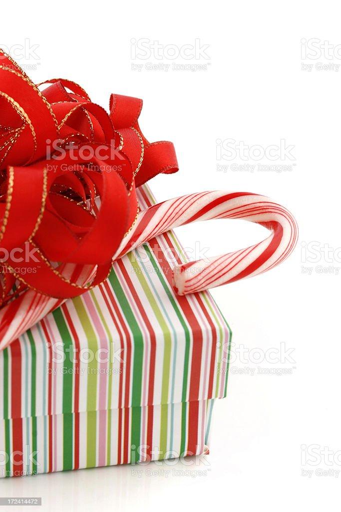 Striped Christmas Gift Box royalty-free stock photo