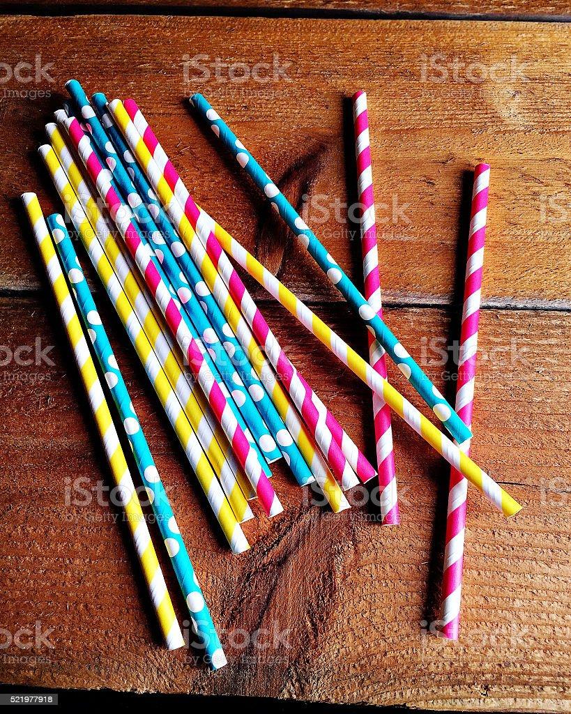 Striped Colorful Straws stock photo