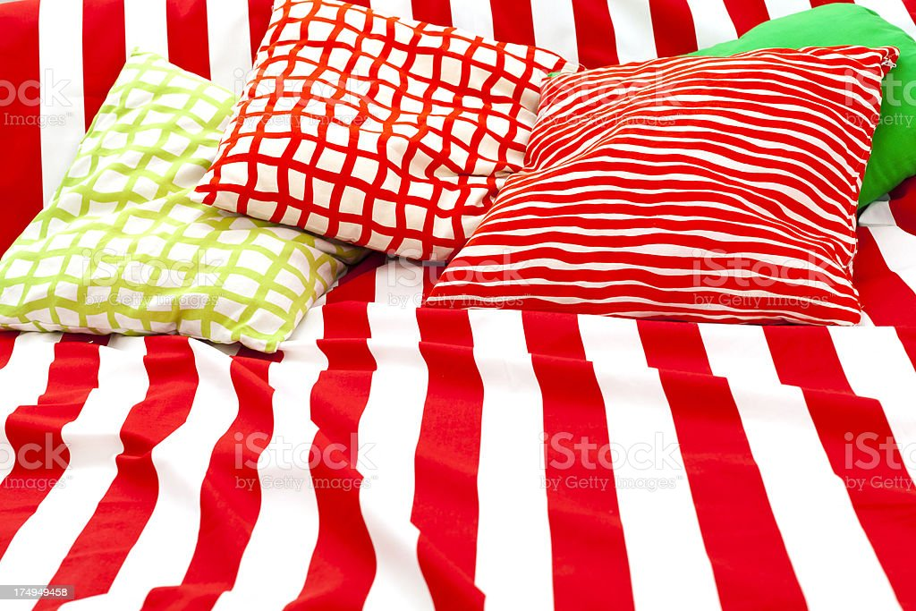 striped cover and pillows royalty-free stock photo