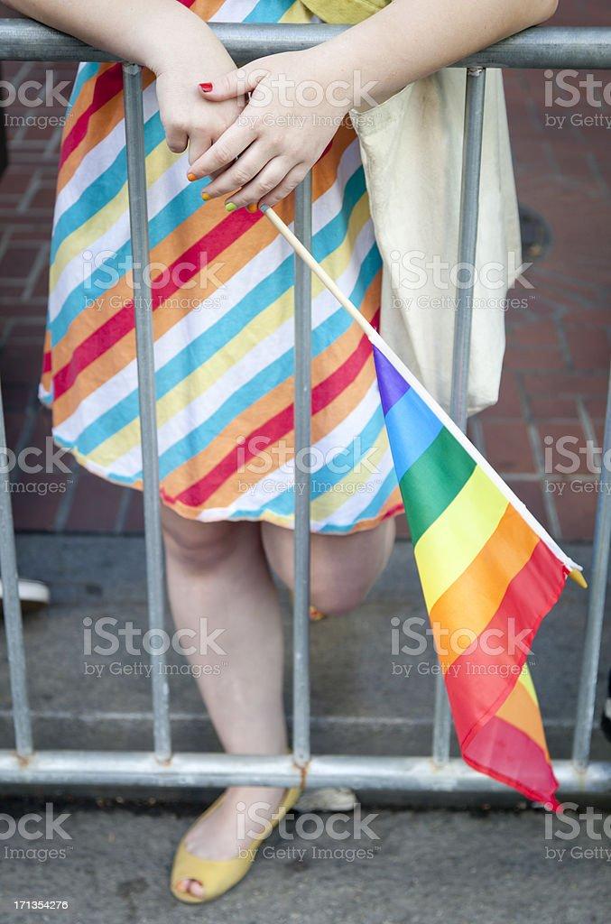 Striped Dress and Rainbow Flag stock photo