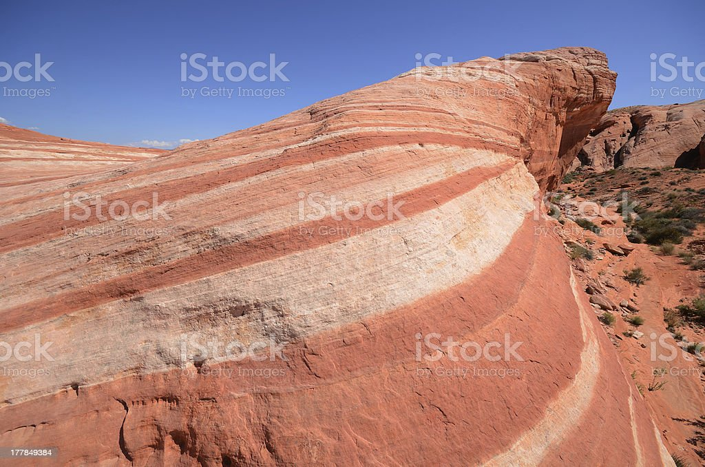 Striped Fire Wave Sandstone Rock Formation royalty-free stock photo