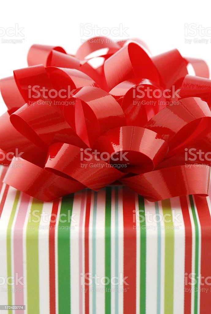 Striped Gift Box Close-Up royalty-free stock photo