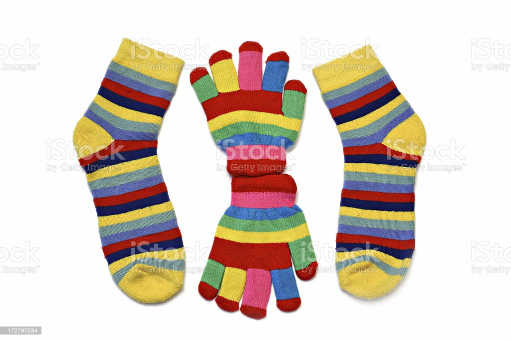 striped gloves and socks royalty-free stock photo