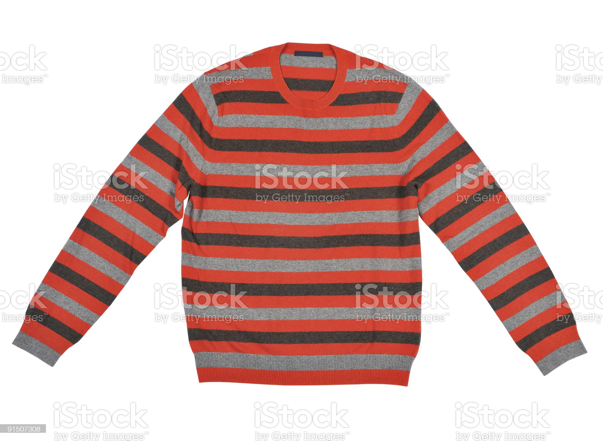Striped gray, black, and red sweater on a white background royalty-free stock photo