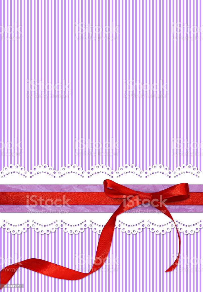 Striped holiday background with red bow stock photo