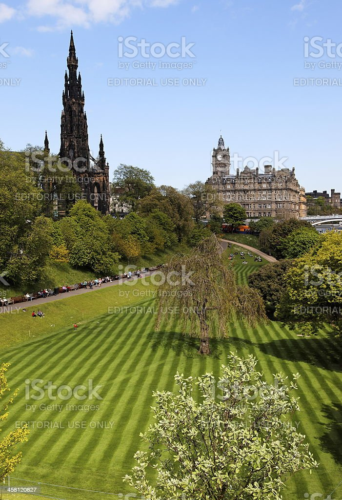 Striped lawn of Princess Gardens. Edinburgh. Scotland. UK. royalty-free stock photo