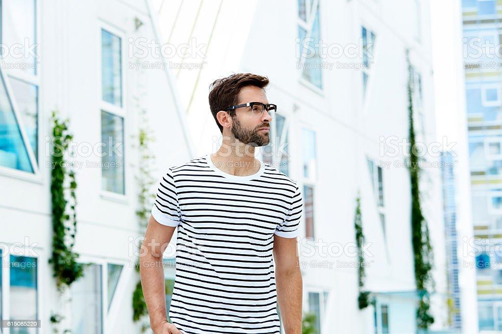 Striped man stock photo