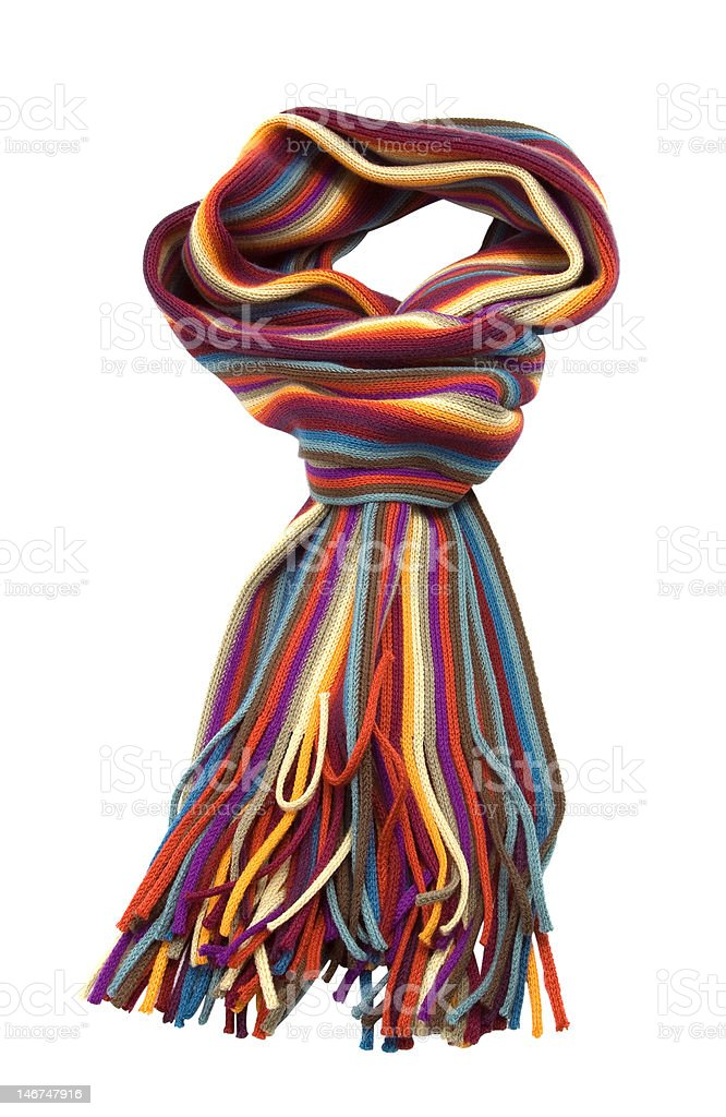 striped multicolored woolen scarf royalty-free stock photo