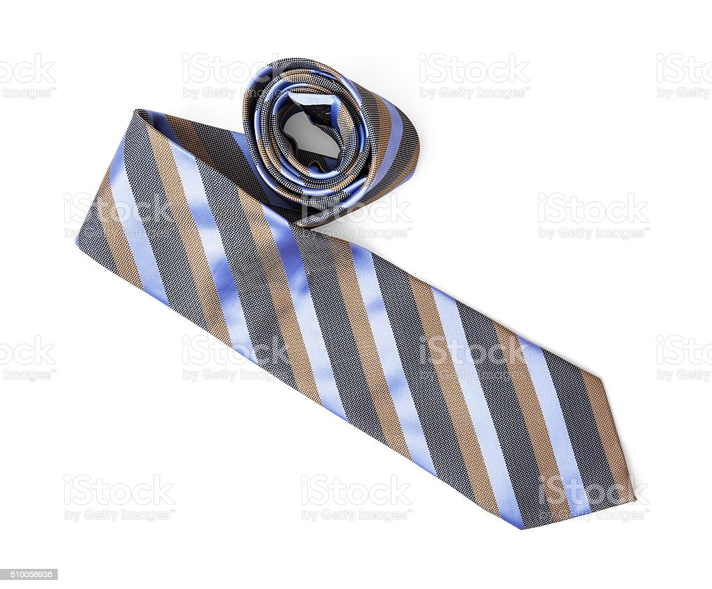 Striped necktie on the white background, beauty and fashion stock photo