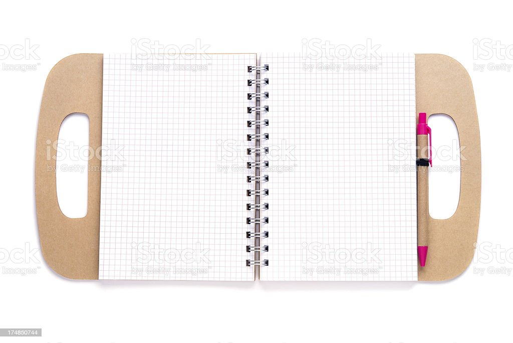 Striped note pad with pen royalty-free stock photo