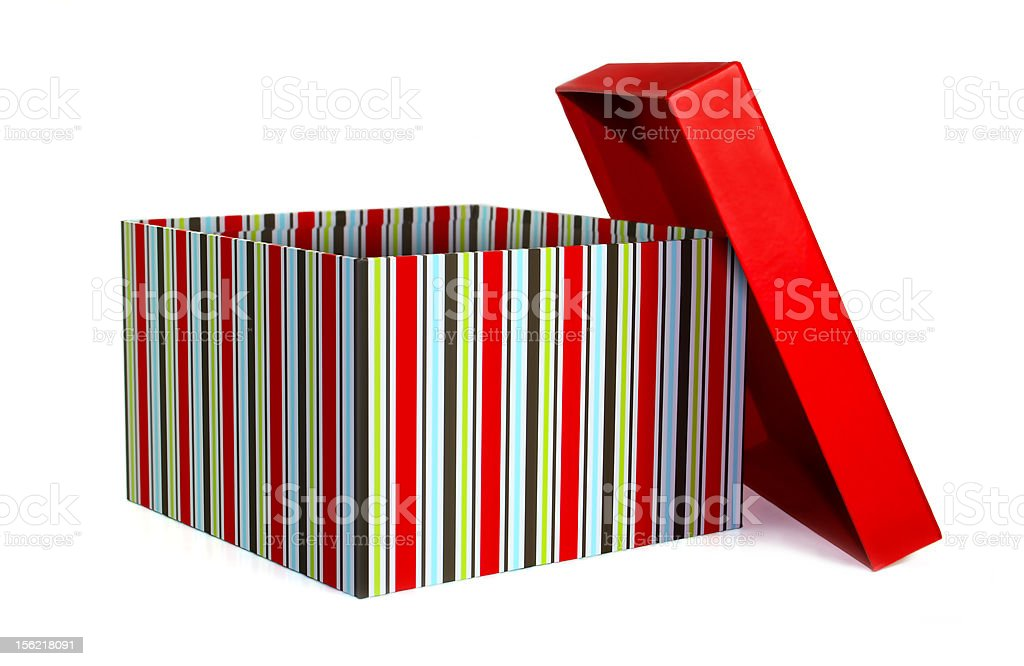 Striped present (gift box), opened with lid off stock photo