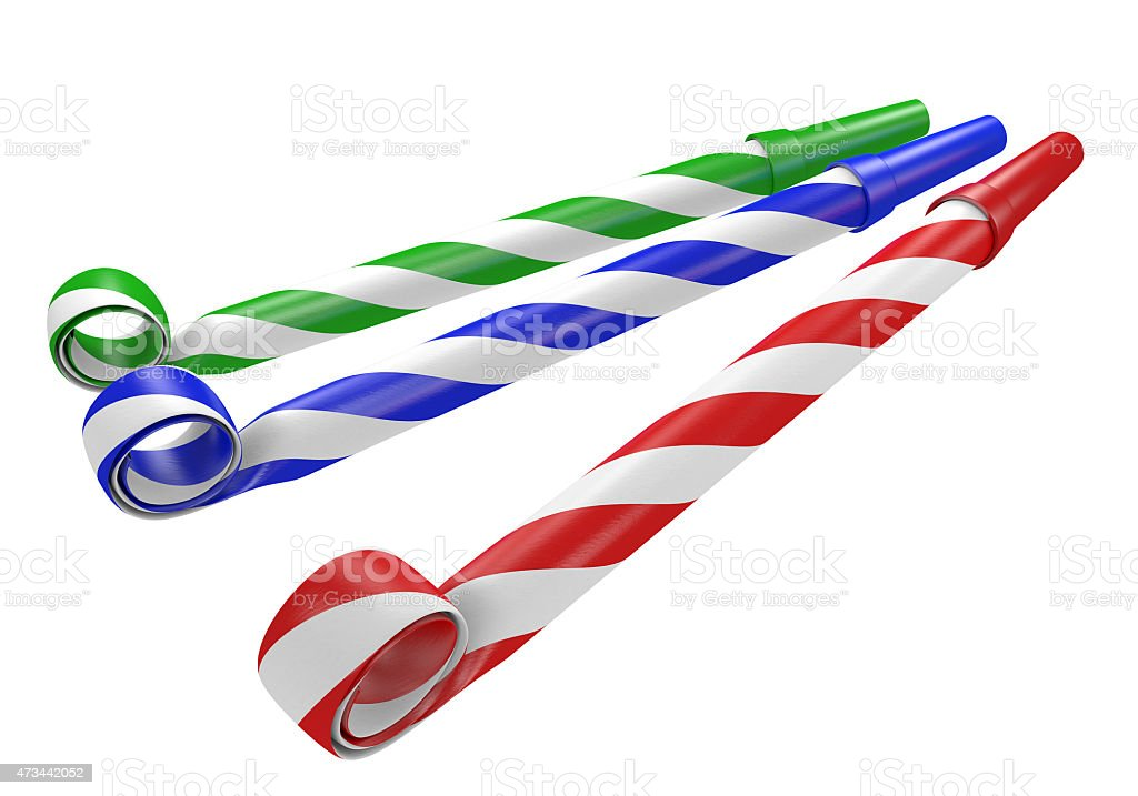 Striped red, blue, and green noisemaker party horns stock photo