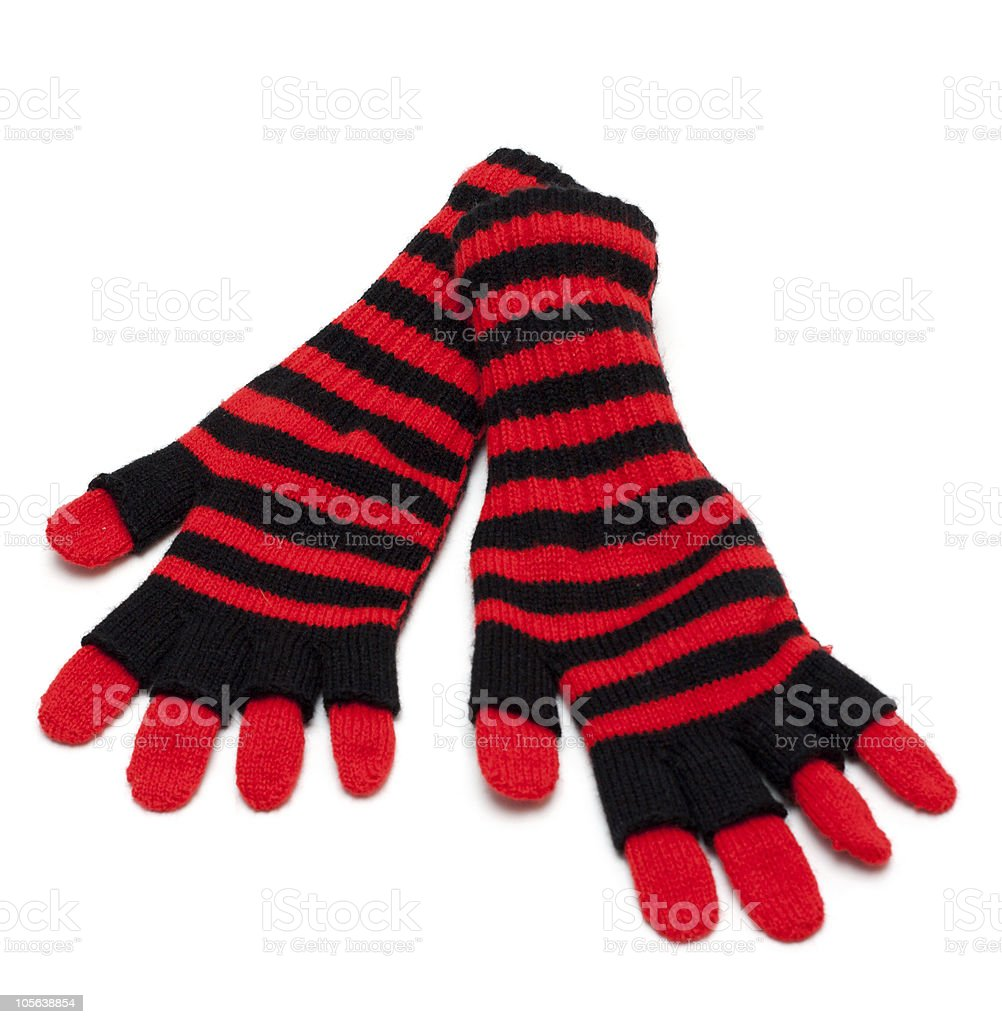 Striped red pair of the gloves royalty-free stock photo