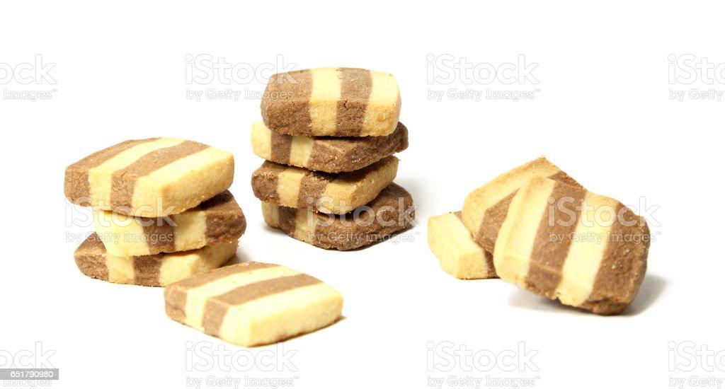 Striped Shortbread Cookies stock photo