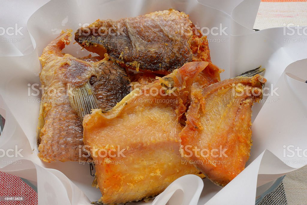 Striped  snake-head fish dried fried stock photo