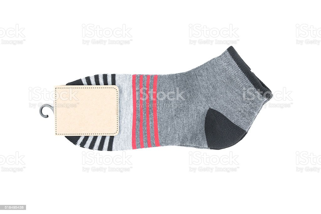 striped  sock in packaging. stock photo