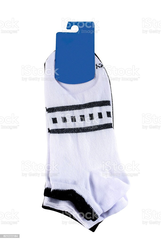 Striped socks on white background stock photo