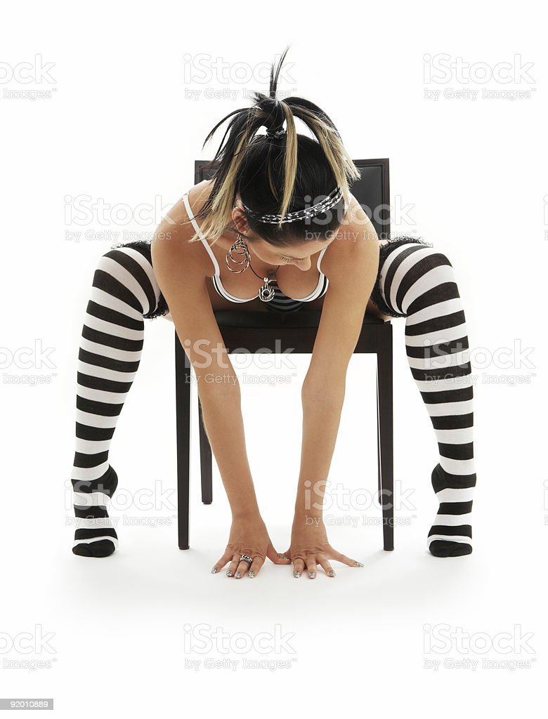 striped underwear girl in chair royalty-free stock photo