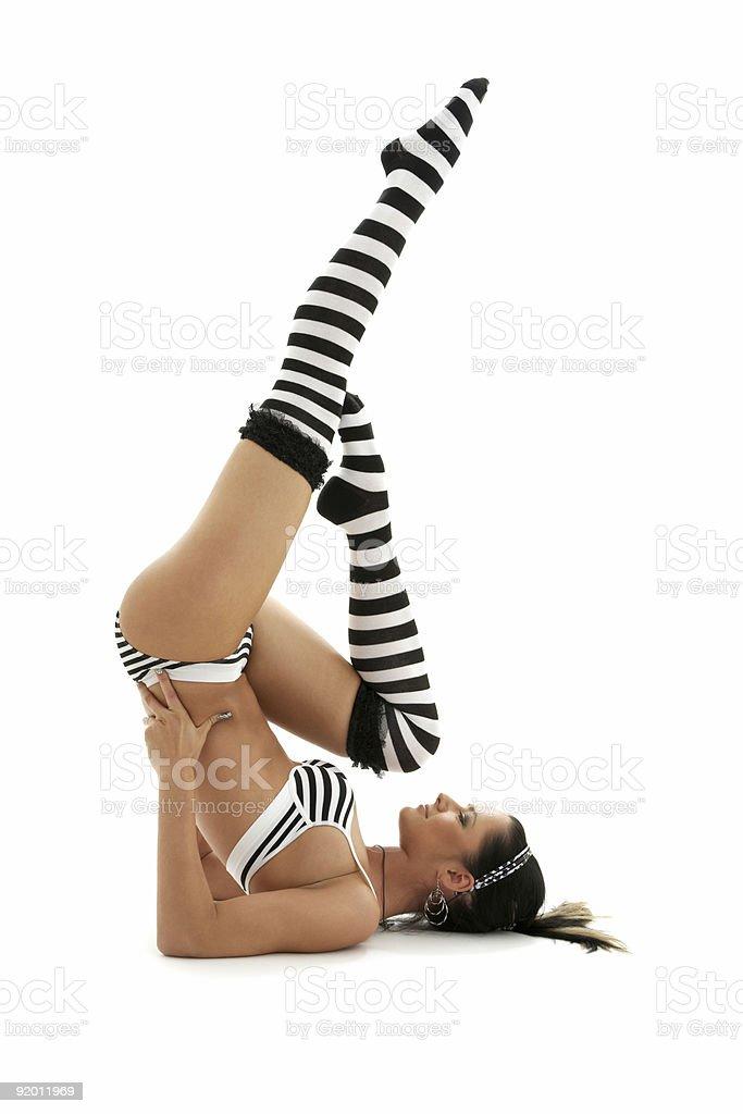 striped underwear supported shoulderstand stock photo