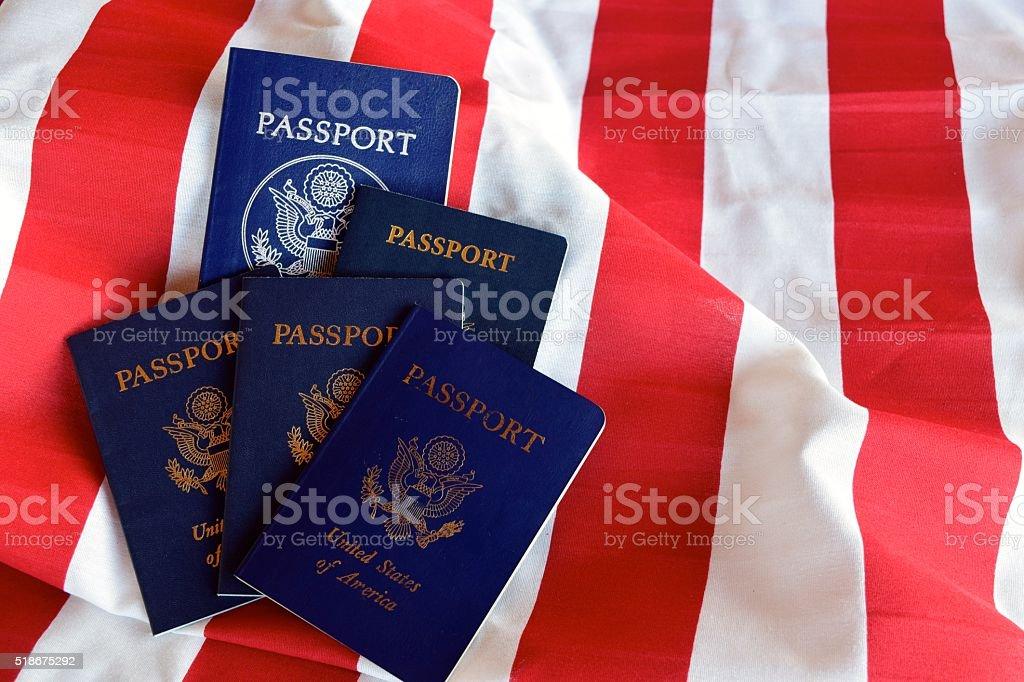 Stripes and passports stock photo