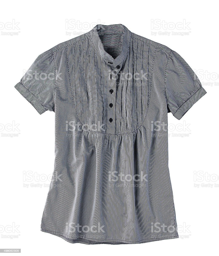 Stripes gray blouse  woman style isolated stock photo