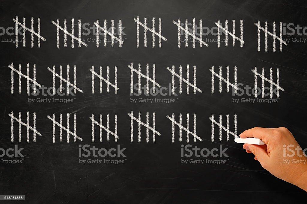 Stripes on a blackboard stock photo