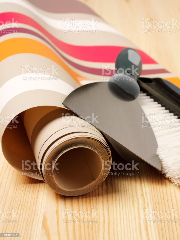 Stripes on Wallpaper with Brush royalty-free stock photo