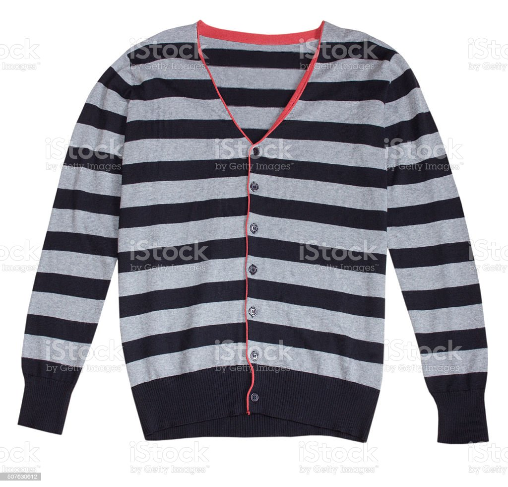 Stripped fashion male button sweater pullover isolated. stock photo