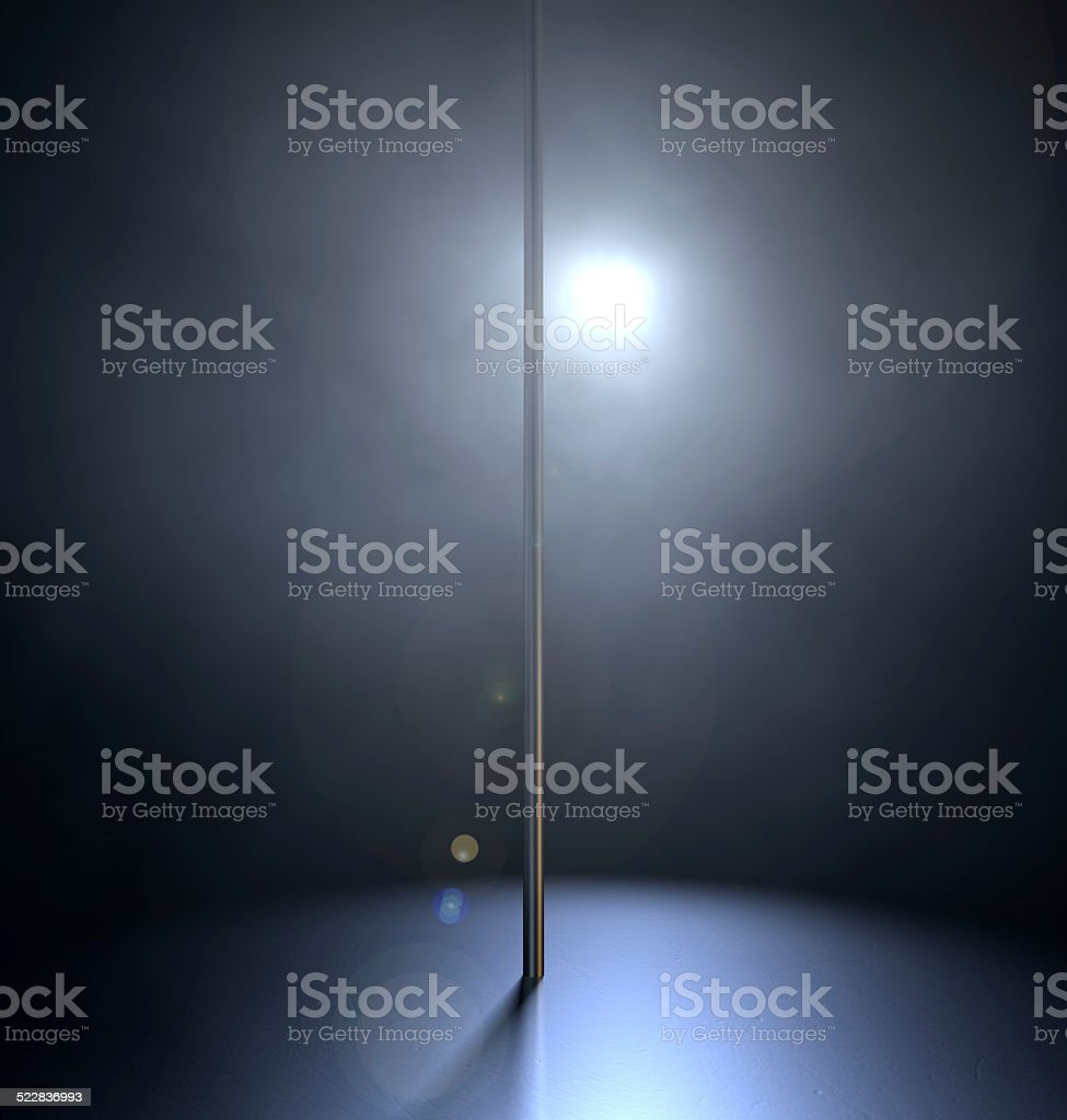 Stripper Pole Spotlit stock photo