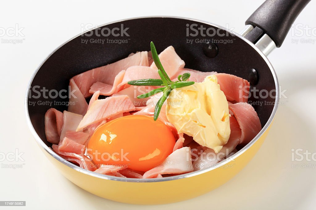 strips of ham with yolk and butter on a pan royalty-free stock photo