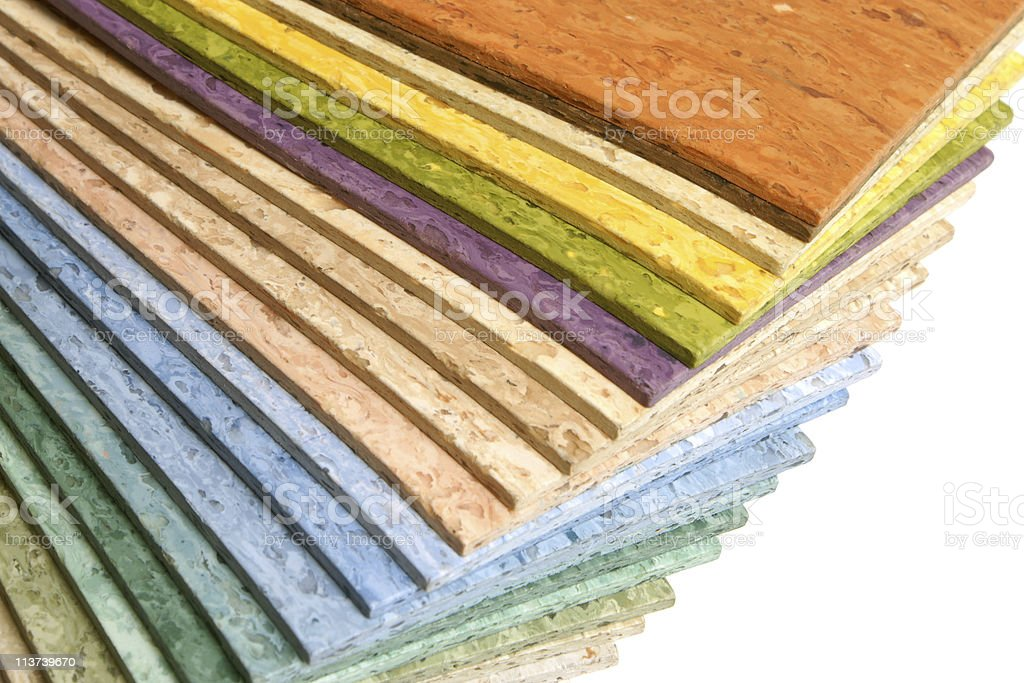 Strips of multicolored linoleum all layed sequentially stock photo