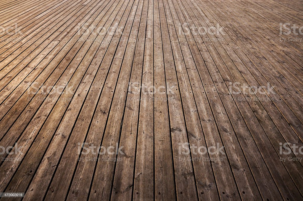 Strips of old wooden floor in need of a good shine stock photo