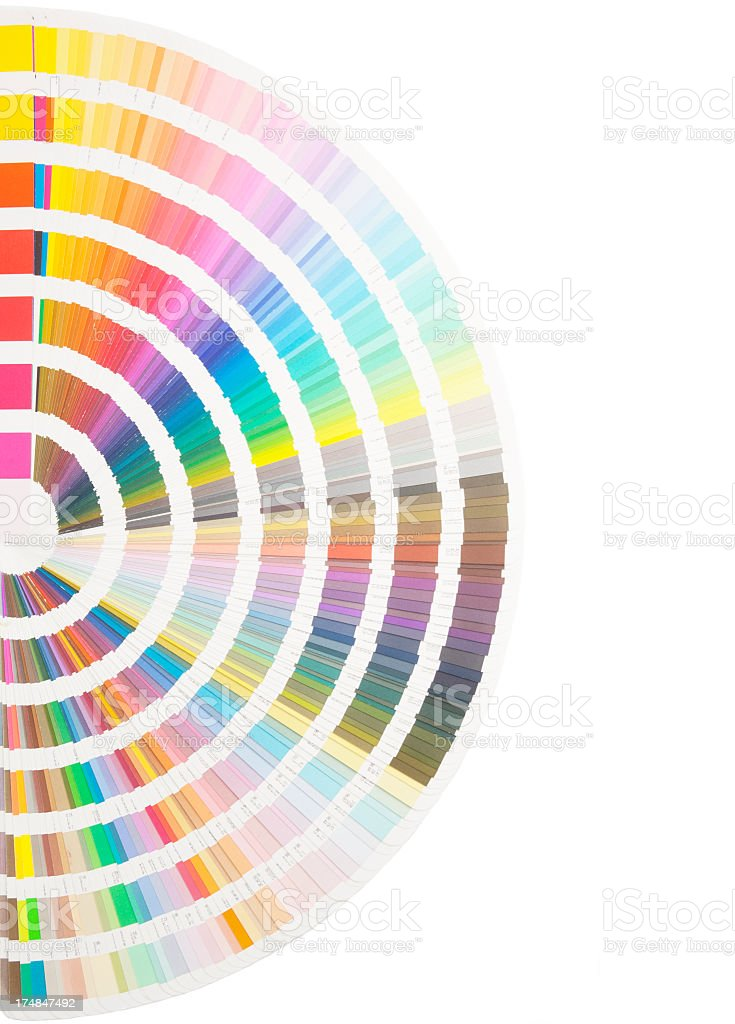 Strips of paint sample colors forming a circle royalty-free stock photo