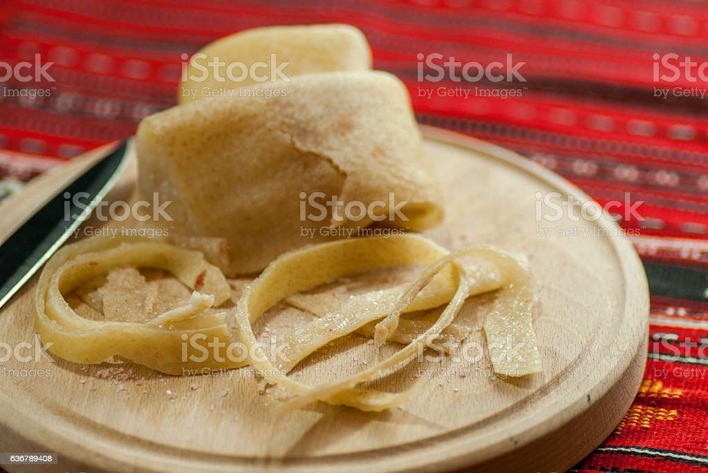 strips of raw pork rind with salt, romanian cuisine stock photo