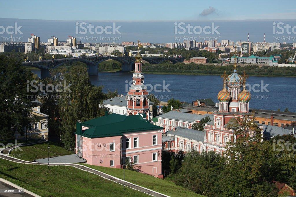 Stroganov church and Oka in Nizhny Novgorod stock photo
