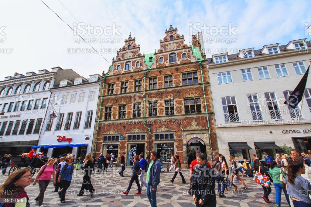 Stroget in the center of Copenhagen stock photo