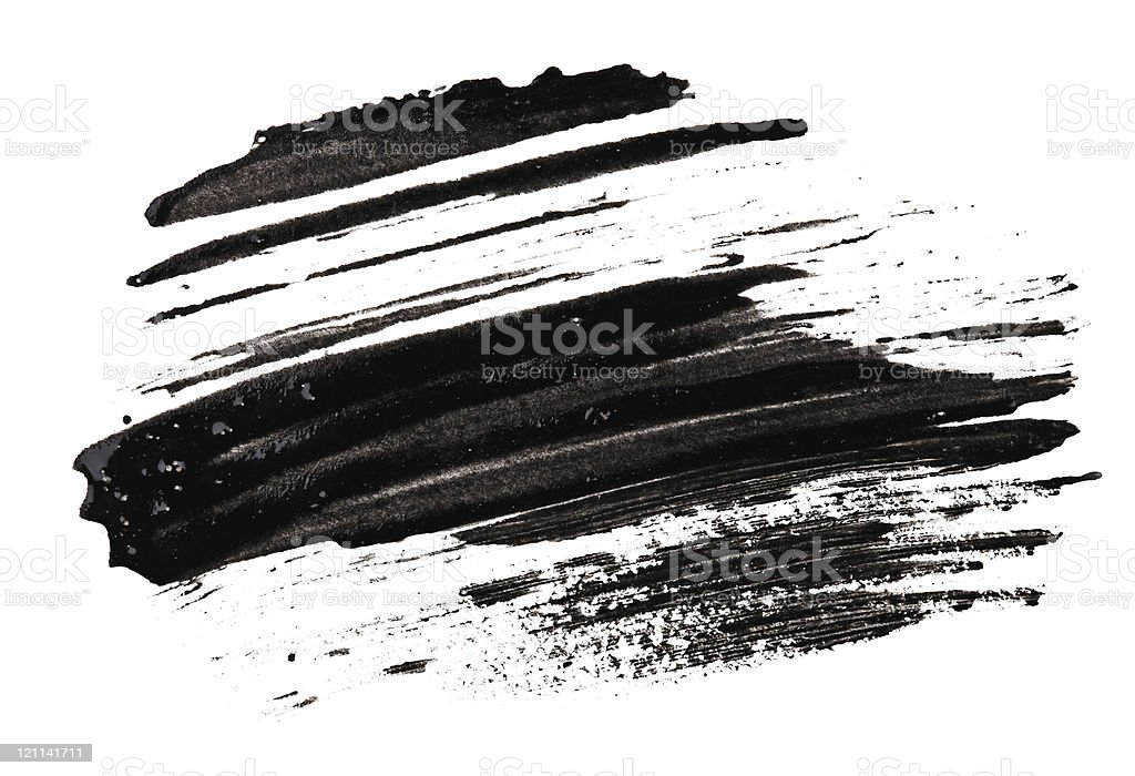Stroke (sample) of black mascara stock photo