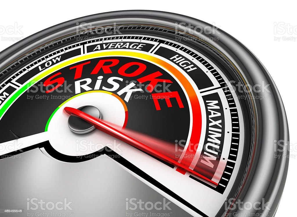 stroke risk conceptual meter indicate maximum stock photo