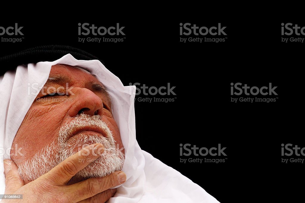 Stroking th beard royalty-free stock photo