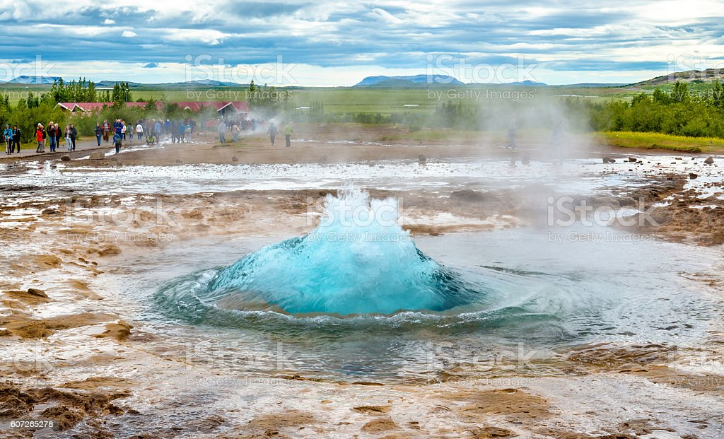 Strokkur geyser about to erupt stock photo