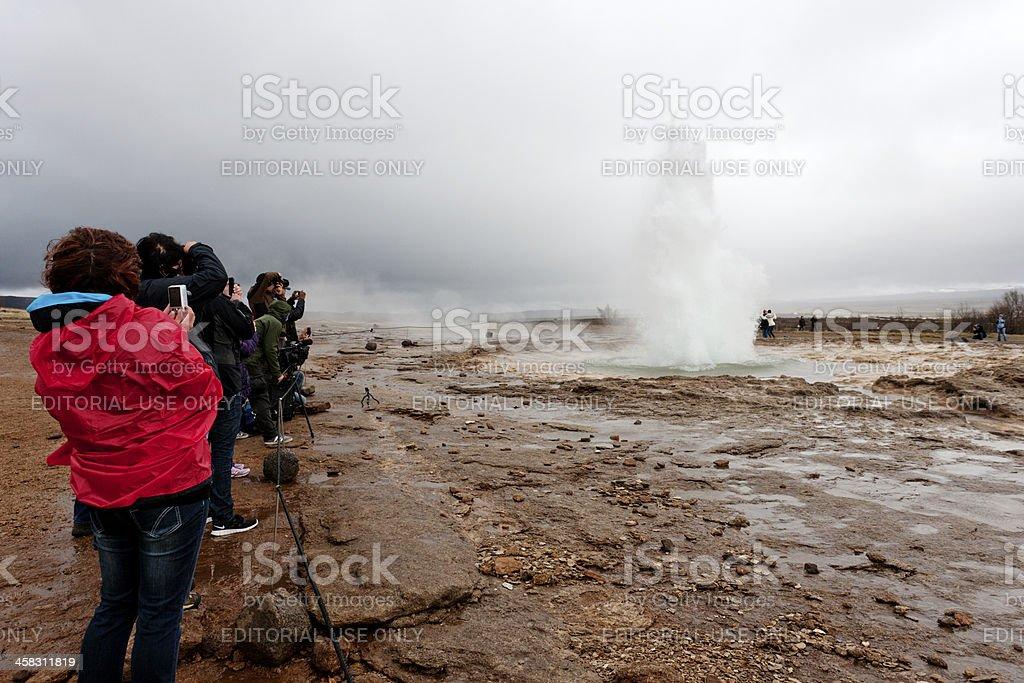 Strokkur geyser erupting at  Haukadalur royalty-free stock photo