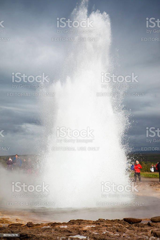 Strokkur geyser eruption stock photo