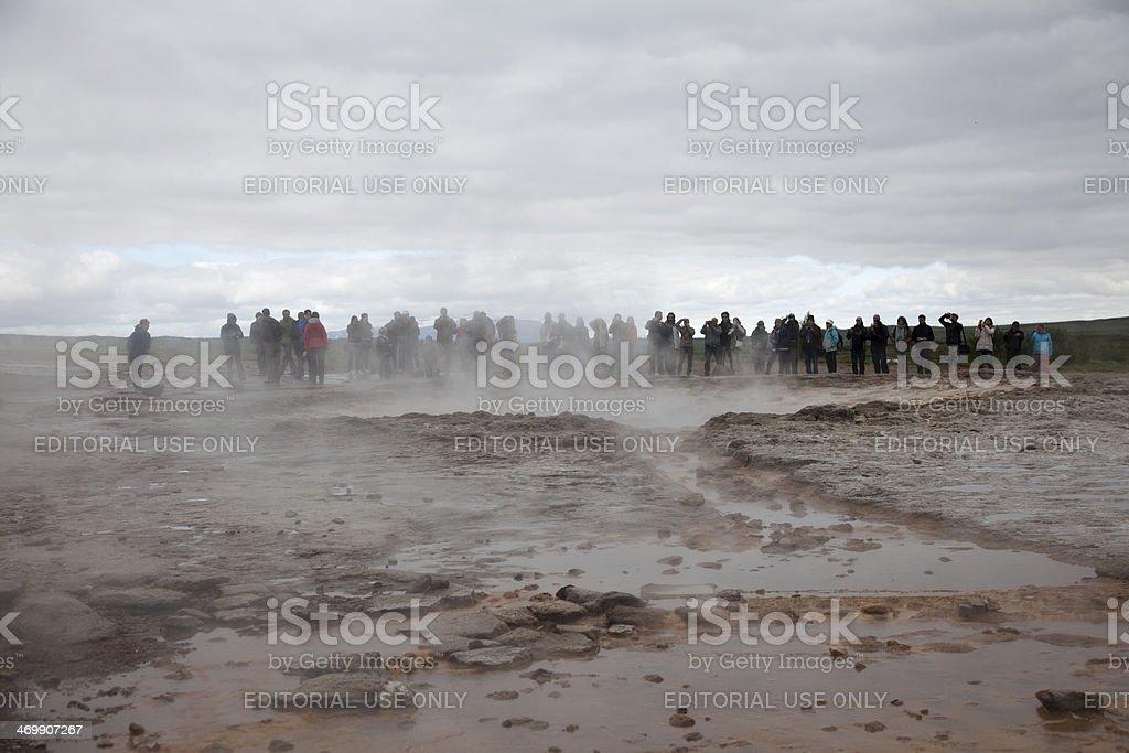 Strokkur waiting geyser stock photo