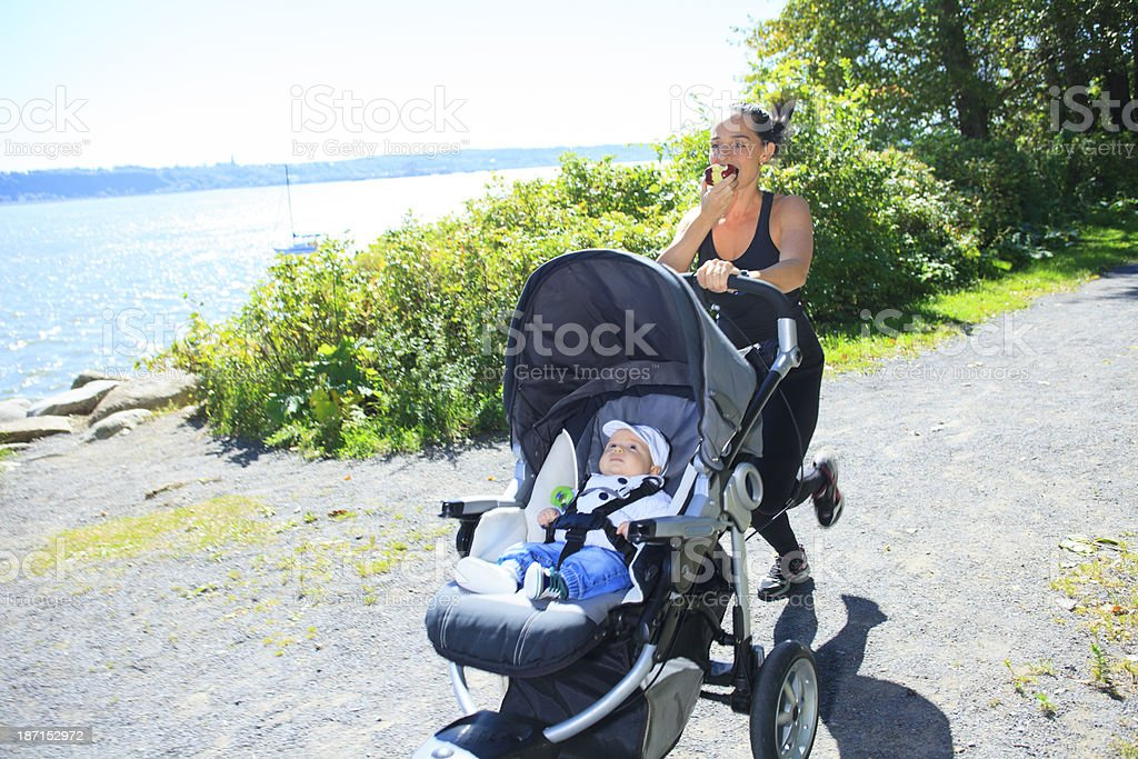 Stroller Fast Jogging Life stock photo