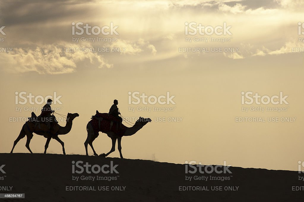 Strolling in the desert stock photo