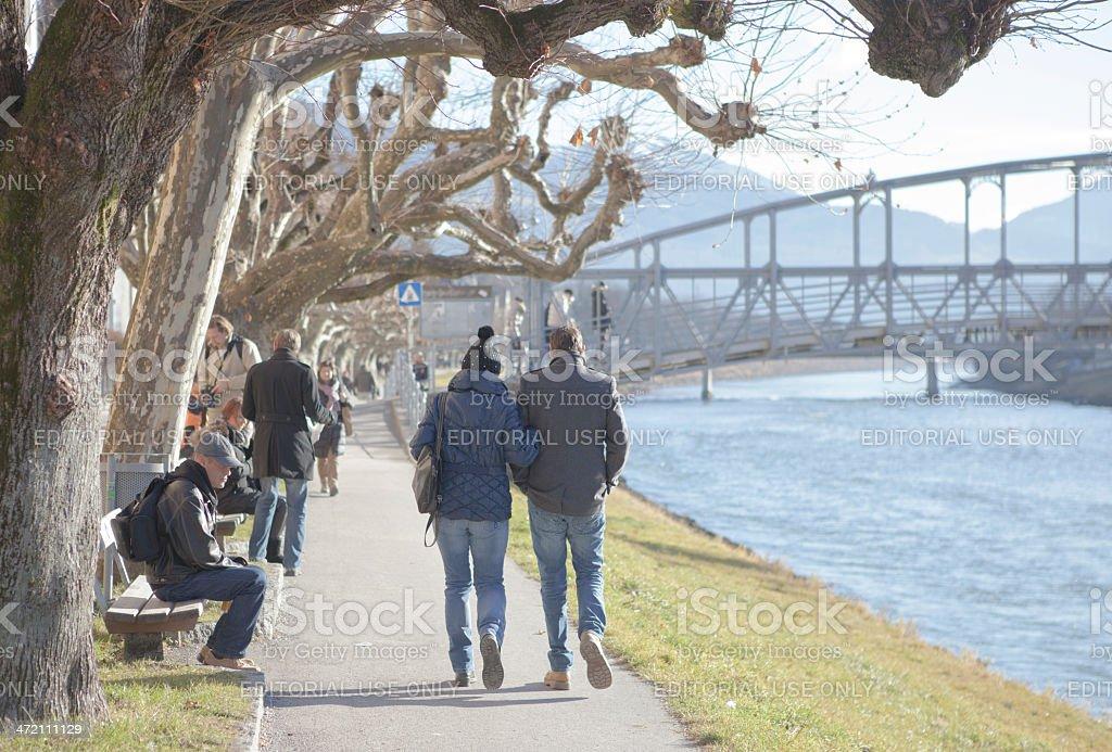 Strolling people in Salzburg stock photo