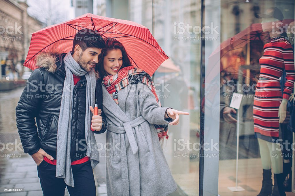 Strolling through the streets. stock photo