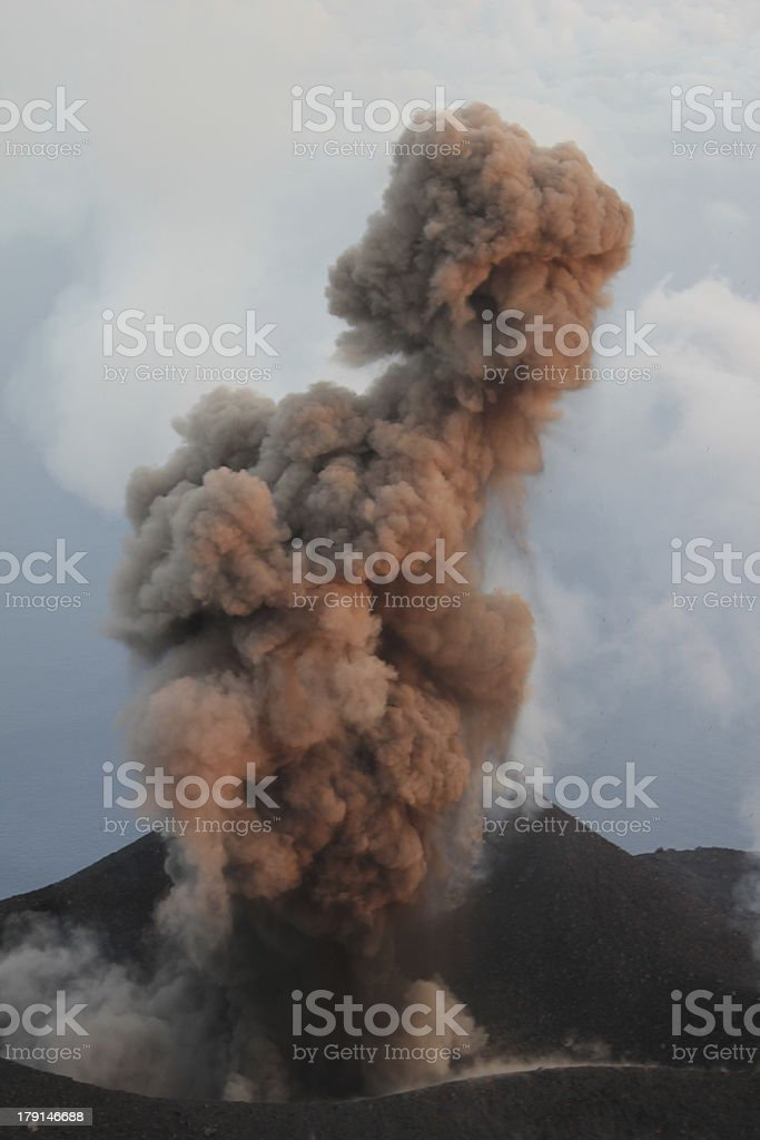Stromboli ash eruption royalty-free stock photo