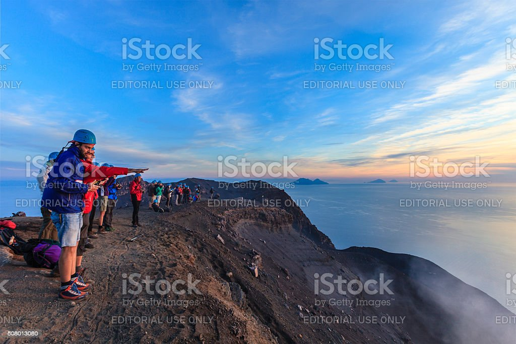 Stromboli Climbing, Aeolian Islands, Sicily stock photo
