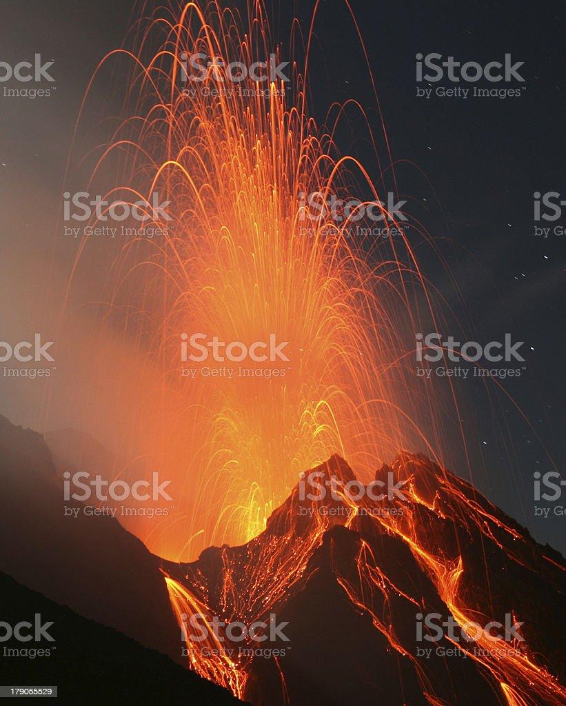 Stromboli in action stock photo